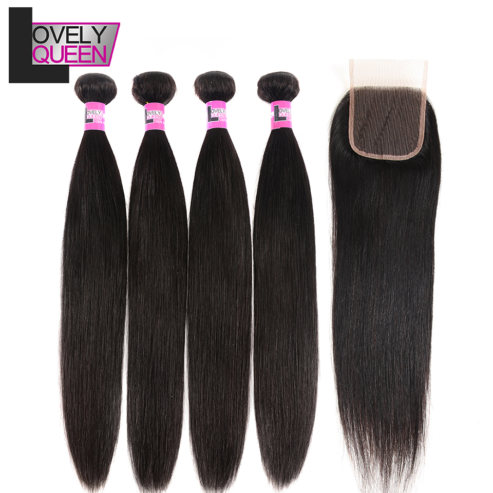 Lovely Queen Hair Straight 4 Bundles With Closure Brazilian Human Hair Bundles With Closure Non Remy Grade Natural Color