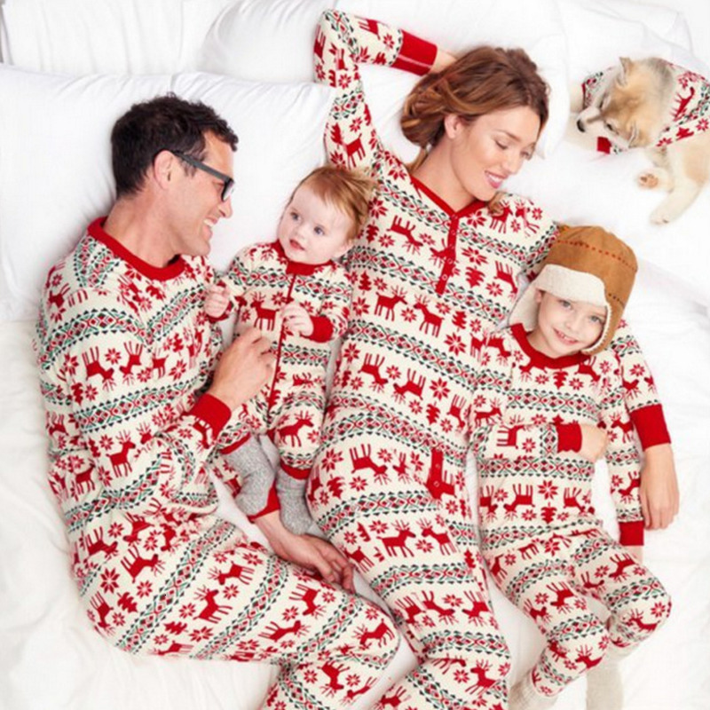 RICORIT Famili Matching Christmas Pajamas 2 PCS Set Father Mother Daughter Matching Family Christmas Pajama Cotton Clothing Suit