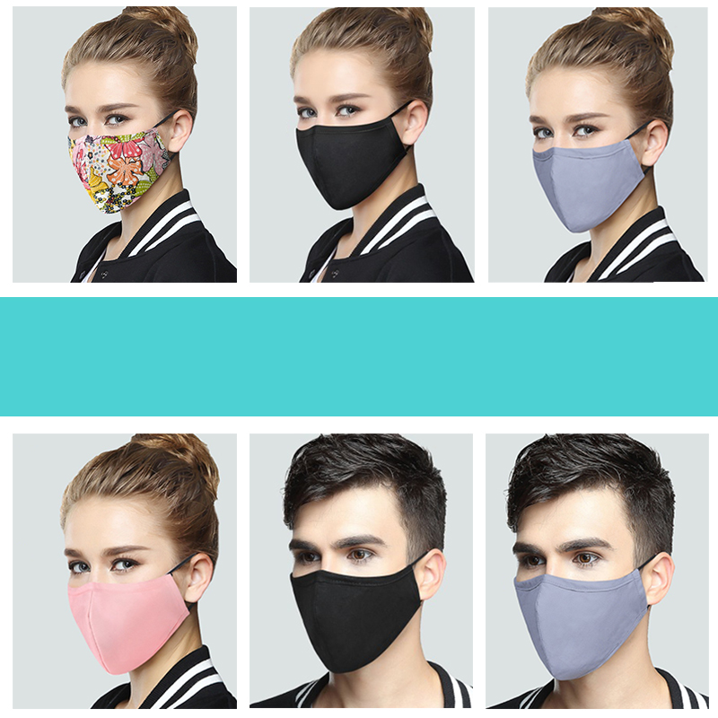 Anti-Dust Respirator Masks Cotton Fabric Face Mask With Carbon Filter Anti PM2.5 Mouth-muffle Mask Washable Reusable Korean Pop