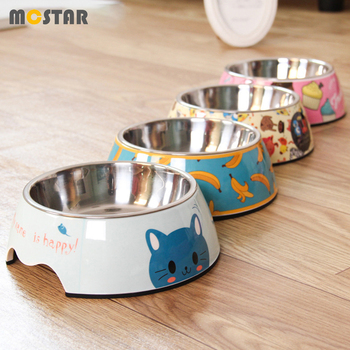 MC Star Stainless Steel Pet Dog Bowl Cartoon Print Food Feeder Double Melamine Cat Basin Bowl Summer Pet Feed Drinking Water Pot 1