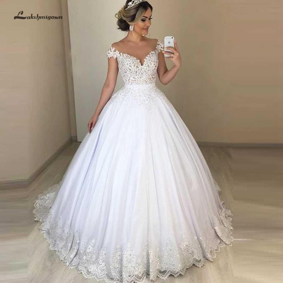 ערב הסעודית נשים תחרה חתונה שמלות Vestido Novia 2019 סקסי כלה שמלות Sheer אשליה טול חתונה שמלת Lakshmigown