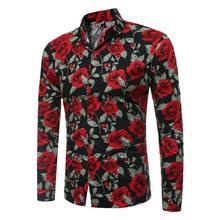 2021 spring new men's long-sleeved floral shirt harajuku shirt