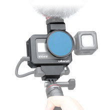 Ulanzi GoPro8 المعادن Vlog قفص ل LED Mic المزدوج الباردة الحذاء محول جبل 52 مللي متر تصفية محول للكاميرا Gopro بطل 8 الأسود