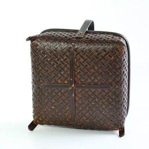 Image 3 - Bamboo woven storage basket hand made retro bamboo woven retro dried fruit tea set box kitchen interior household items