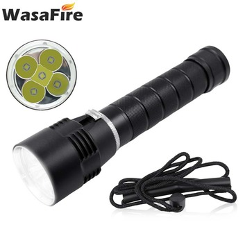 Wasafire Waterproof Led Flash Light Underwater Hunting Lantern 10000 Lumens Diving Torch 5*L2 Scuba Diver Lamp for Submarine image
