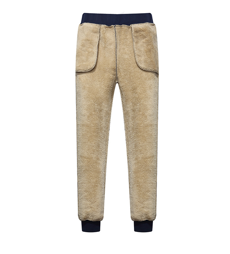 Large Size Youth Winter Men Brushed And Thick Knitted Casual Cotton-padded Trousers Berber Fleece Warm Sports Ninth Pants