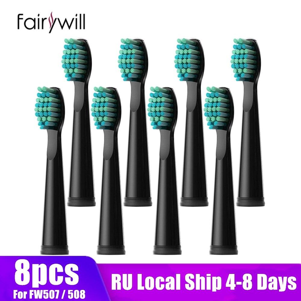 Fairywill brosses à dents électriques têtes de rechange brosse à dents électrique 8 têtes ensembles pour FW-507 FW-508 brosse à dents tête de FW-917