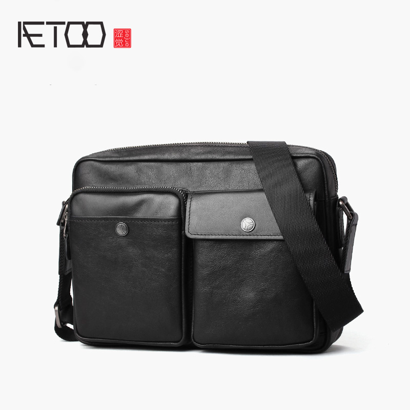 AETOO Vintage men's shoulder bag, casual leather stiletto bag, cowhide trend men's bag