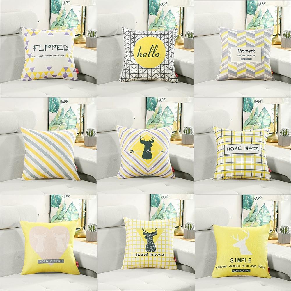 Pillowcase Geometric Pattern Linen Waist Cushion Pillowcase Family Fashion Car Sofa Bedroom Cushion Cover Home Decoration