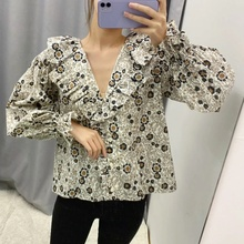 Blouses Outfits Casual Women Long Sleeve Elegant Blouse Plus Size Tops Shirt Blouse 2020 Summer Floral Top Clothing chiffon blouse sexy shirt women tops and blouses ruffles summer autumn shirt casual female chiffon blouse clothing plus size
