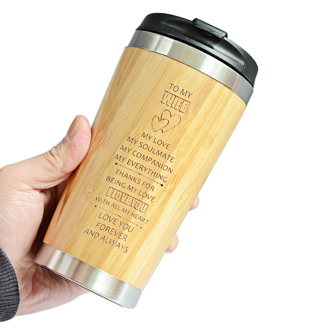 400MLTravel Coffee Mugs Bamboo Stainless Steel Cup Coffee Drink Bottle Flask Bambu Water Mugs For Mother's Day Gift 3