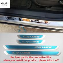 Darmowa wysyłka 4 sztuk partia Slim próg drzwi listwy ochronne naklejki samochodowe dla 2010 2012 2013 2014 Chevrolet Chevy Cruze Sedan hatchback tanie tanio NoEnName_Null Chrom stylizacja STAINLESS STEEL 0 3kg