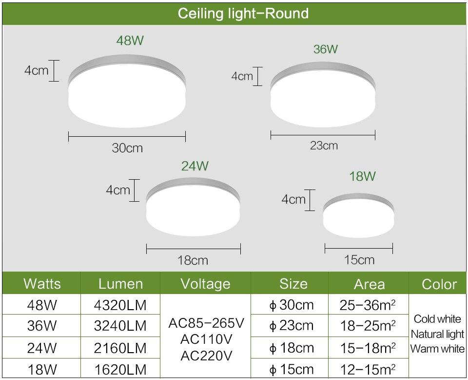 Luminária led de teto redonda, ultrafina, quadrada,