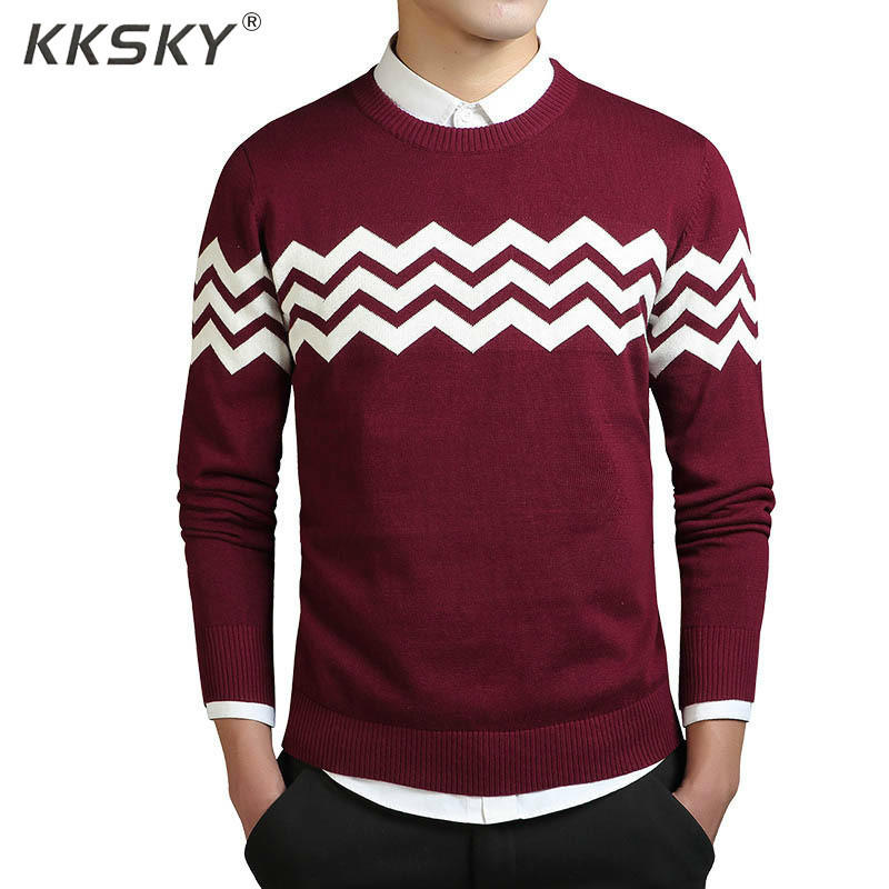 Sweater Men Striped Knitted O-Neck Long-Sleeve Patchwork-Quality Male Autumn Casual Brand