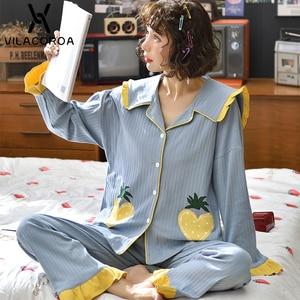 Image 2 - Dorywczo owocowy kieszonkowy kardigan na guziki kobiety Pijama Lapel z długim rękawem spodnie wygodna piżama dla kobiet dorywczo śliczna odzież domowa