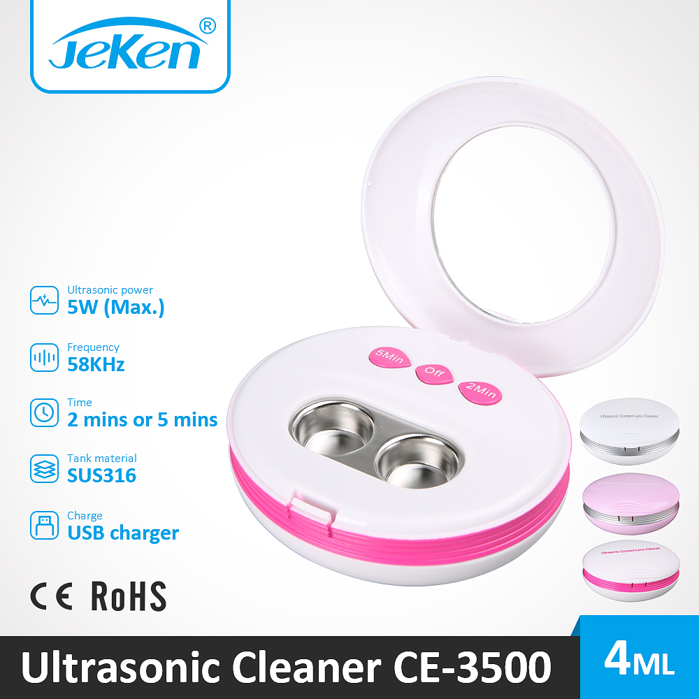 Jeken Best Ultrasonic Contact Lens Cleaner Portable Size Ultra Sonic Cleaning Machine Good Vibration Device For Sale CE-3500