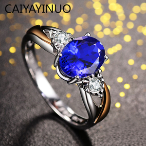 Caiyayinuo Luxury Sapphire Ring for Women Open Adjust Size with Oval Blue Gemstone 925 Silver Classic Jewelry Wedding Gift
