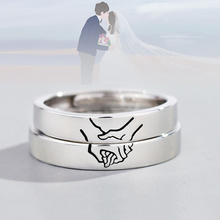 1Pc 925 Sterling Silver Romantic Holding Hands Open Ring Couple Finger Jewelry Valentine's Day Gift for Women Men Anniversary holding hands