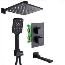 Matowy czarny kolor kwadratowy deszczownica prysznic termostatyczny placu mikser zawór z wylewką i prysznic S228