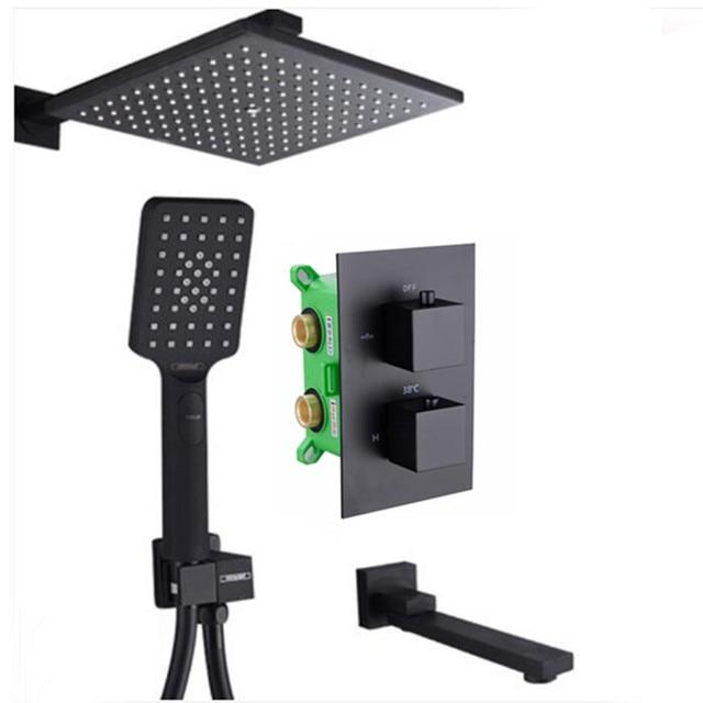 matte black color Square Rain Shower Thermostatic Shower square mixer valve with spout and Shower S228