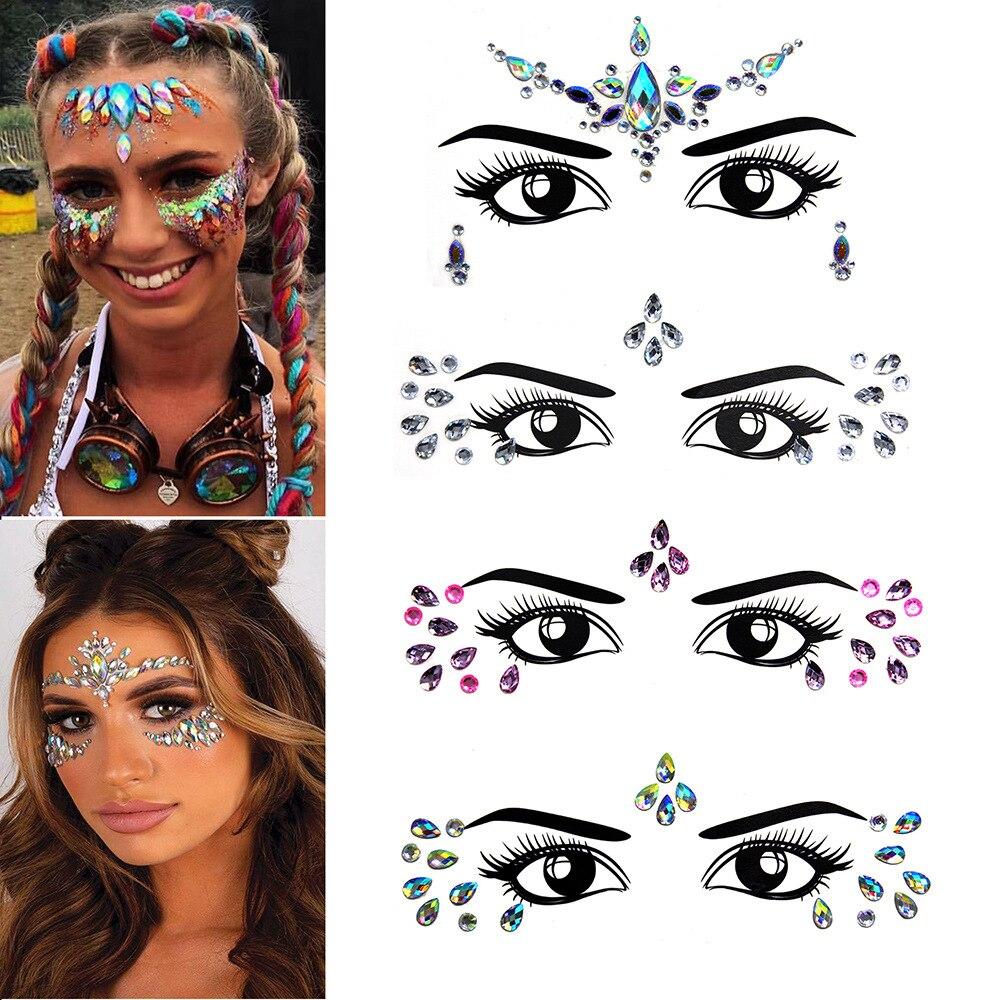 Music Festival 3D Crystal Sticker Face Trendy Shiny Acrylic Drill Sticker Masquerade Face Decoration Temporary Tattoo Sticker