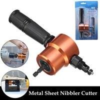 Folha de metal nibbler dupla cabeça serra de metal cortador 360 graus ajustável broca acessório ferramenta de corte com suporte posicionamento
