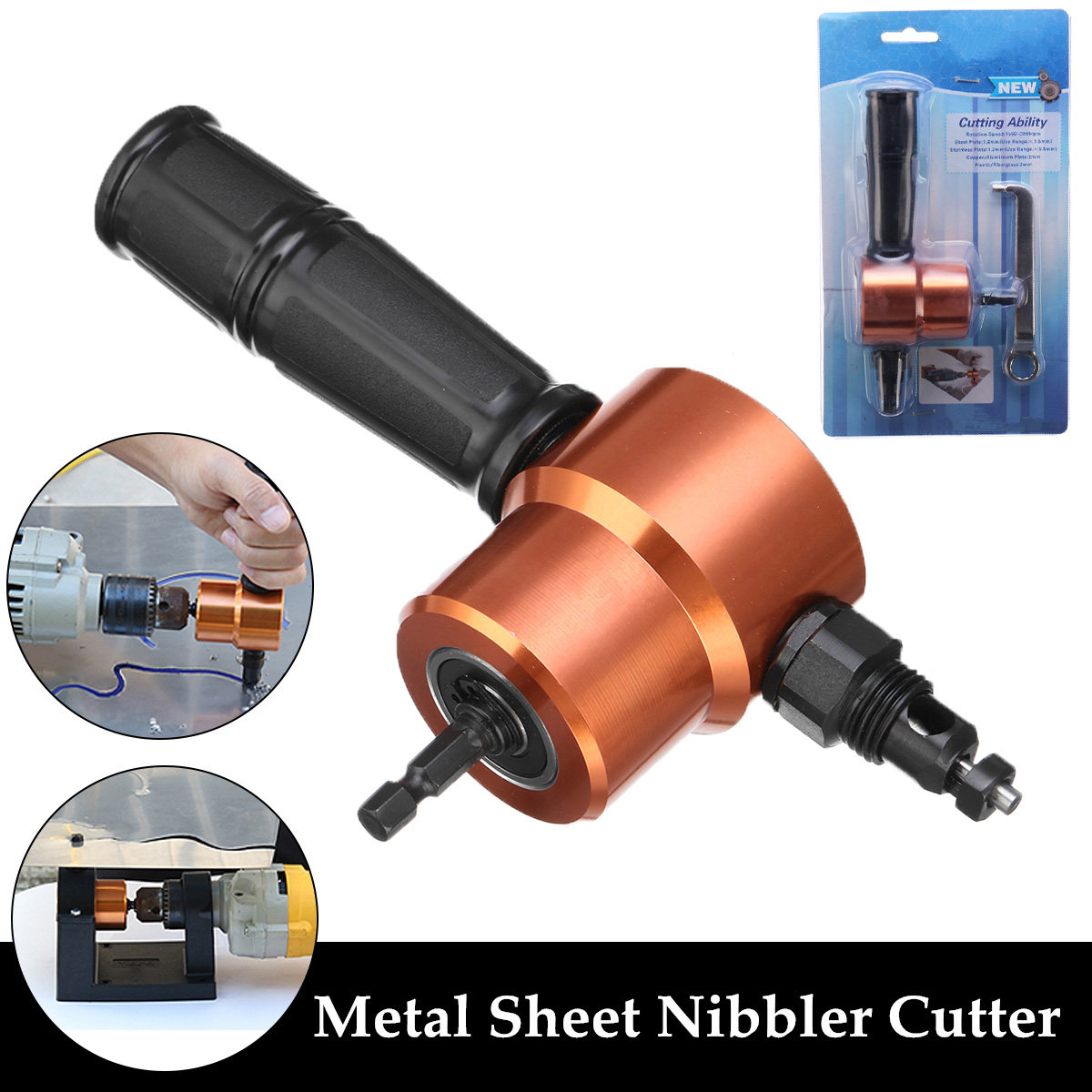 Sheet Metal Nibbler Double Headed Metal Saw Cutter 360 Degree Adjustable Drill Attachment Cutting Tool With Positioning Bracket