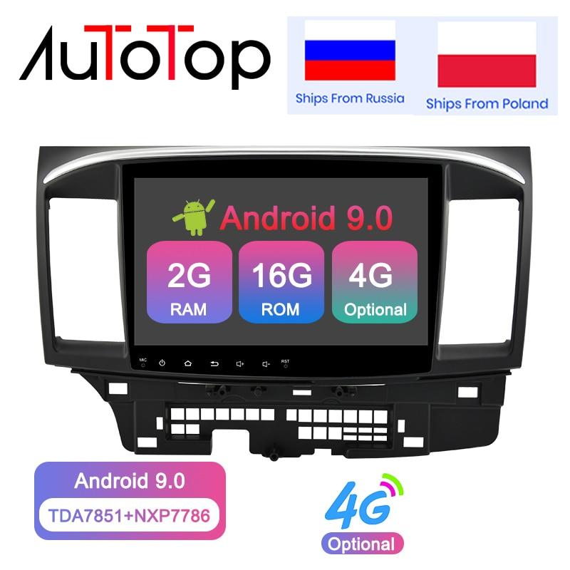 Jogador dos multimédios do carro do andróide 9.0 de autotop 2din para a navegação de gps do rádio de mitsubishi lancer x 2007-2018 bluetooth 4g wifi nenhum dvd