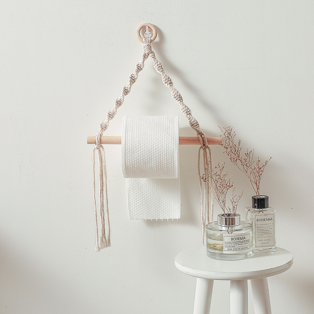 Vintage Nordic Wooden Stick Toilet Paper Holder Wall Hanging Hand-woven Tapestry Macrame Kitchen Bathroom  Towel Rack Decoration