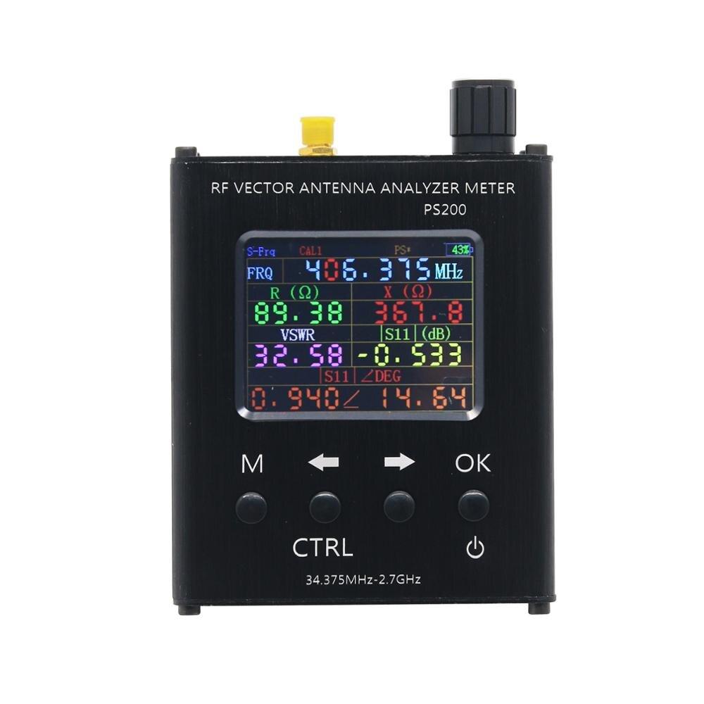 TZT N1201SA + 35MHz - 2.7GHz UV RF analyseur d'antenne testeur de compteur SWR avec coque en alliage d'aluminium PS100/PS200 - 3