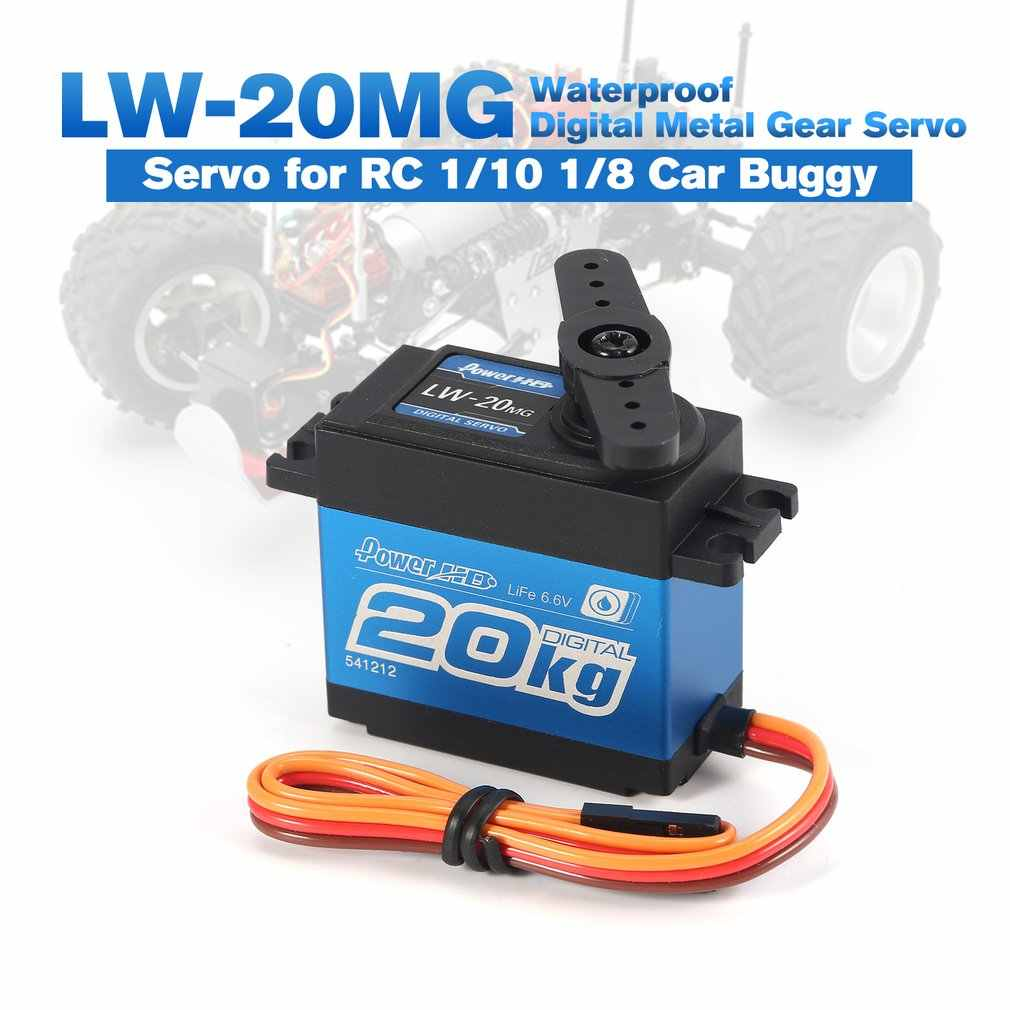 65g 6.6V cyfrowy metal gear serwo wodoodporna 20kg serwo dla RC 1/10 1/8-samochód ciężarówka buggy LW-20MG