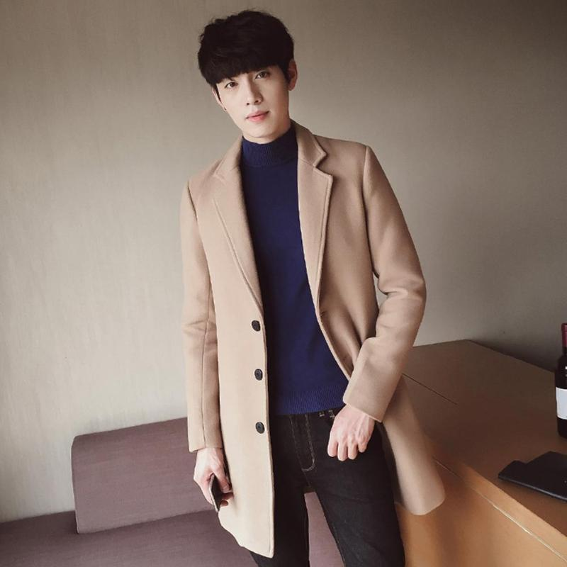 British Pure Turn Down Collar Overcoat Men Cardigan Button Woolen Coat Boys Leisure Solid Color Winter Overcoat