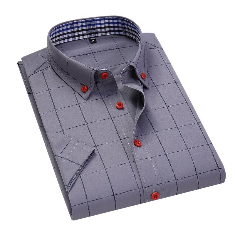 New Summer South Korea Men's Business Casual Plaid Shirt Fashion Classic Style Slender Short Sleeve Shirt Men's Brand Clothes