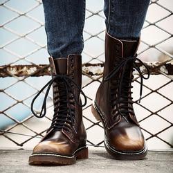 2019 novas botas masculinas de couro genuíno na altura do joelho-alta marca martin botas outono inverno sapatos masculinos rendas ao ar livre calçados tamanho grande 37-46