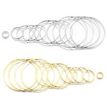 20-50 sztuk mosiężne złote Plated okrągły koło pętli złącza żywicy formy pierścień Diy dla kolczyki w kształcie obręczy Sun Catcher elementy do wyrobu biżuterii tanie i dobre opinie CN (pochodzenie) 0 66g 0 1cm Hollow Circle Hoop linki do biżuterii Metal Miedziane round loop ring Round Closed Rings 8-40mm Hoops