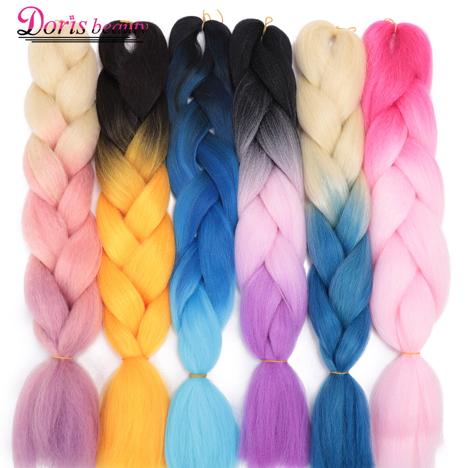 Doris Beauty  Jumbo Crochet Braids Synthetic Hair Extensions Ombre Braiding Hair 100g/Pack 24inch Blonde Pink Blue Grey Purple