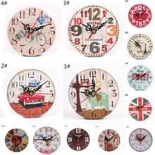 Wall-Clock Decor Wooden Bedroom Living-Room Vintage Home Watch Office Diy Round Rustic