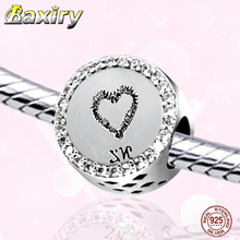 100% Real 925 Sterling Silver Heart Shape Charm Bracelet DIY Beads Fit Bracelet Charms Silver 925 Original Beads Jewelry Making стоимость