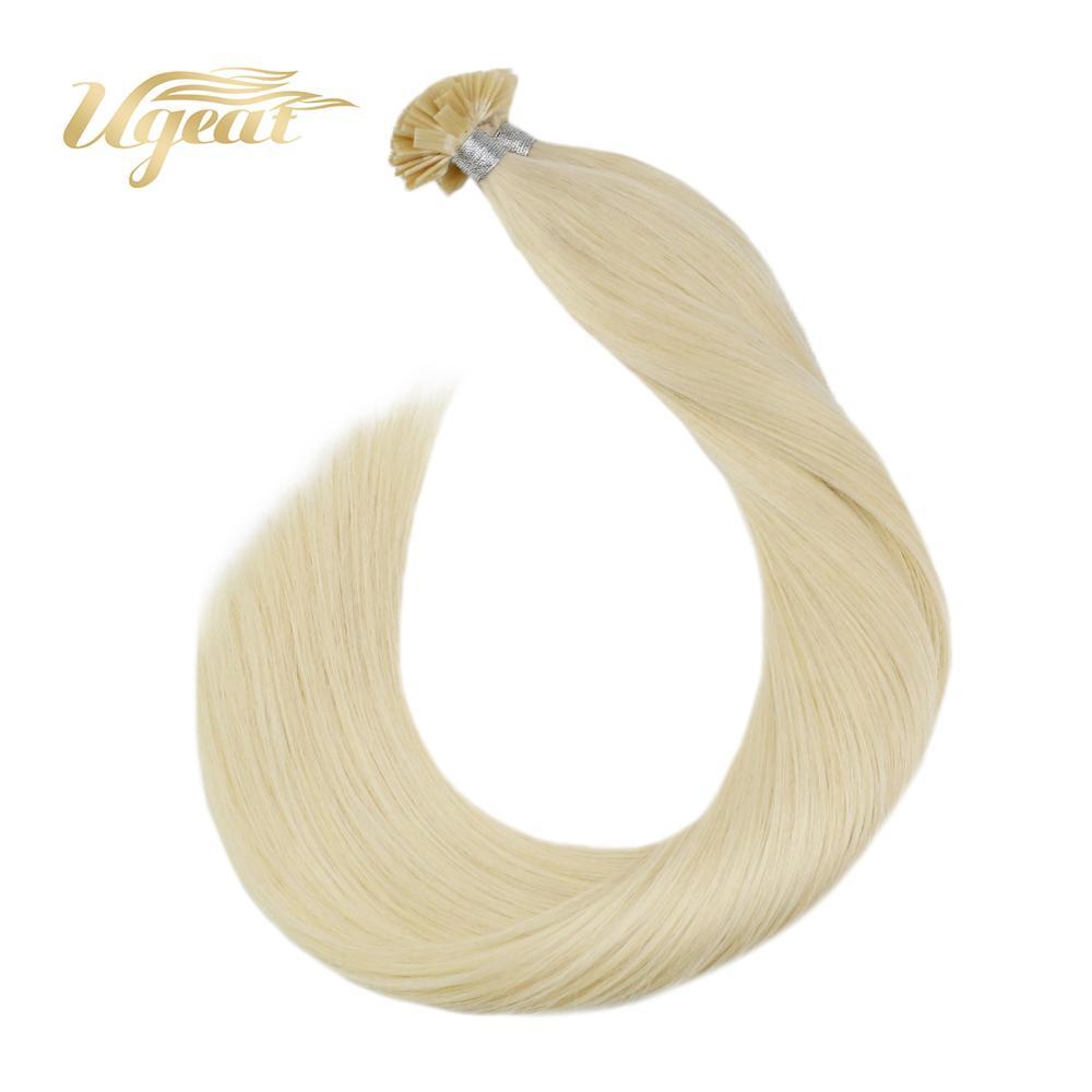 Ugeat Pre-Bonded Fusion Hair Straight Brazilian Human Hair #613 Bleach Blonde Hair 14-24