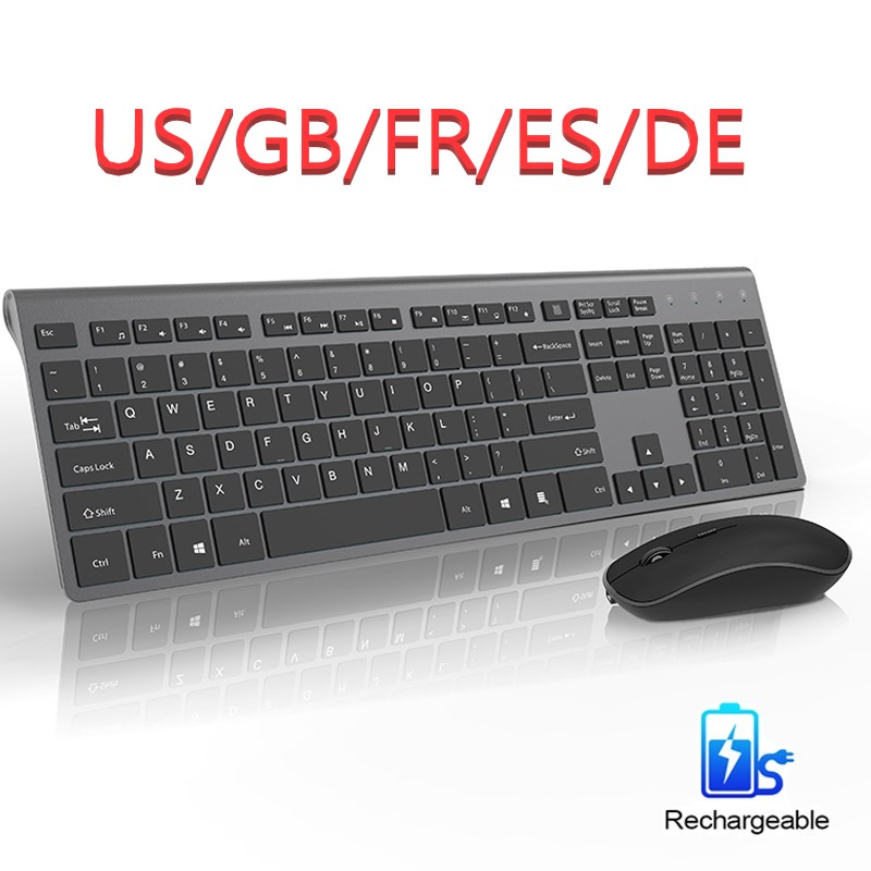 2.4G Rechargeable Wireless Mouse And Keyboard, US / France / Germany / English / Spanish Layout, Ergonomic Silent Mouse