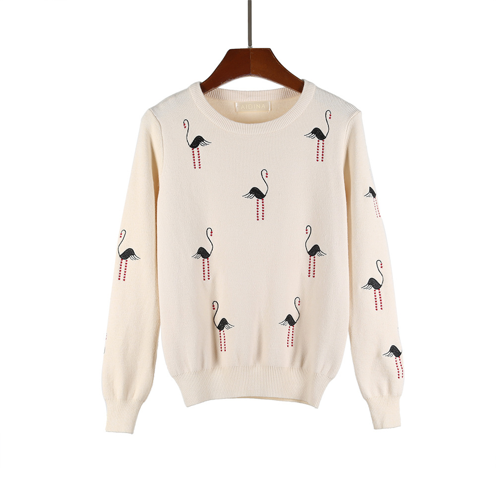 HLBCBG White Crane Embroidery Sweater Round Neck Fashion Pullover Loose Casual Long-sleeved Bottoming Tops Women Clothing