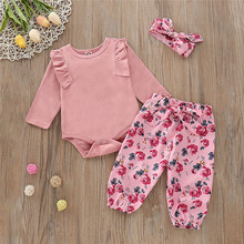 2019 Fashion Infant Baby Girls Jumpsuit Romper+Floral Print Pants+Headband Outfits Set