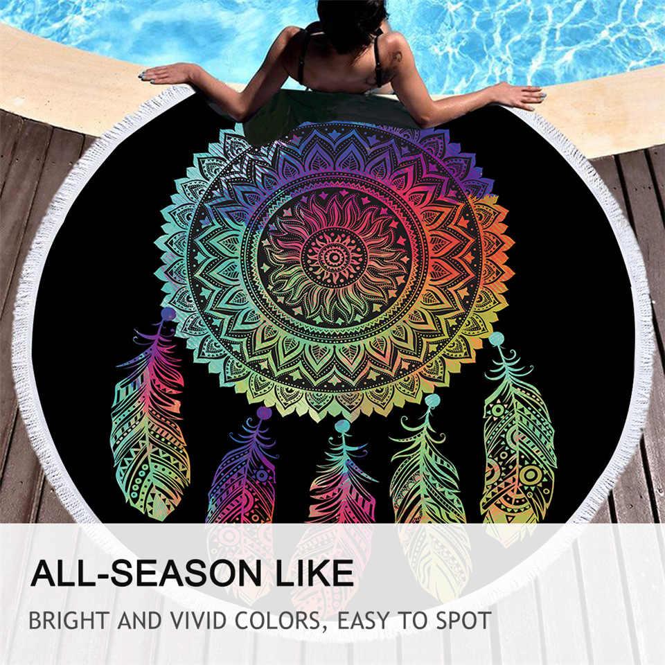BeddingOutlet ręcznik plażowy mandala kolorowy Dreamcatcher okrągły ręcznik kąpielowy z pomponem Toalla Sunblock koc mata plażowa Dropship