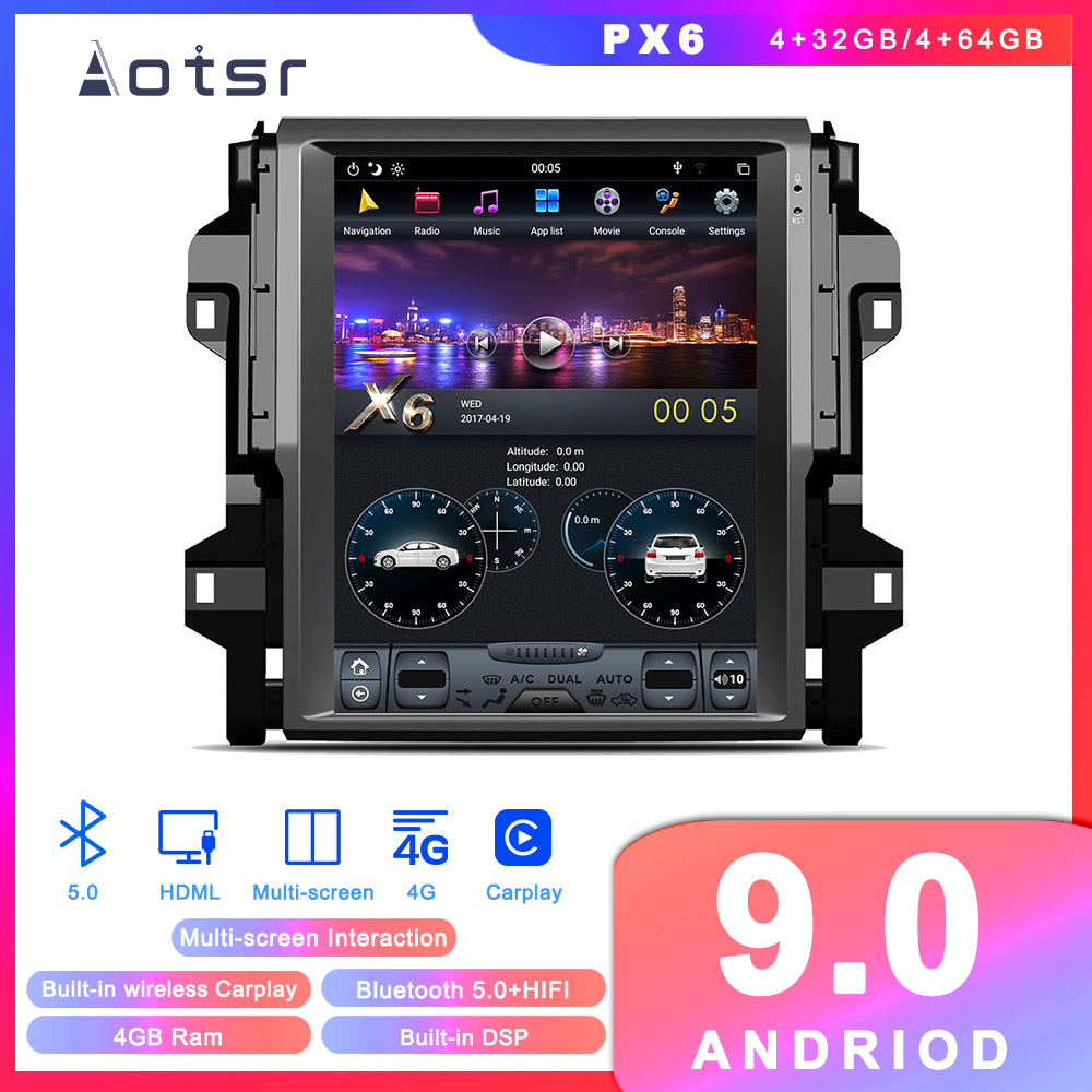Android 9.0 Tesla Style GPS Navigation For Toyota Fortuner 4 Runner 2016-2018 Car Auto Radio Stereo Multimedia Player Head Unit