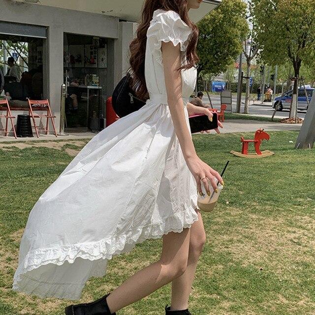 Elegant Casual  Summer Dress   Vintage Puff Sleeve Irregular Lace  5