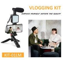 Tripé titular para vlogging fotografia smartphone kit de vídeo microfone led luz gravação alça estabilizador suporte