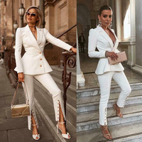 White women's suits 2 Piece Slim Fit Women Pant Suits Women's Summer Suit Women Blazer Suit For Women Set (Jacket+Pants)