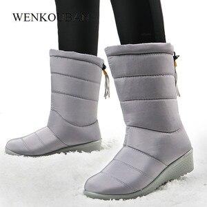 Image 3 - Damskie buty zimowe do połowy łydki wodoodporne buty śnieżne futrzane kliny buty damskie ciepłe buty puchowe platforma Botas Mujer Invierno 2020