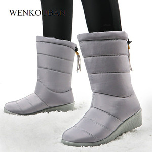 Image 3 - Women Winter Boots Mid Calf Waterproof Snow Boots Fur Wedges Shoes Ladies Warm Down Boots  Platform Botas Mujer Invierno 2020