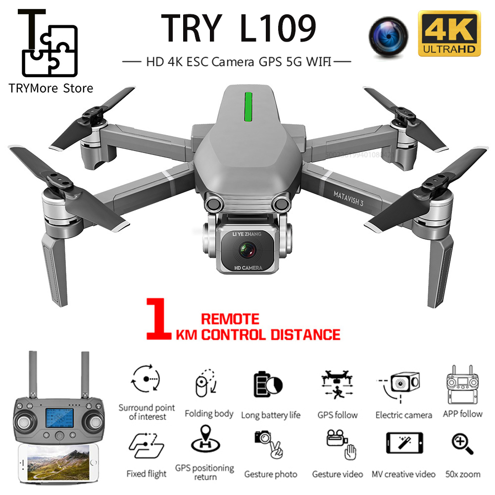L109 Drone 4k With Hd Camera Gps 5g Wifi Quadcopter Drone Profissional Quadrocopter Dron Brushless Motor Drones 1000m Vs Sg907
